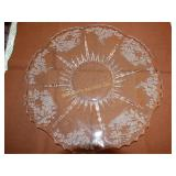 "Etched cake plate, 12"" d"