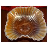 "Fluted gold opalescent bowl 4"" x 7"""