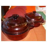 Pyrex visions 2.5 and 1.5 lidded casserole with 3