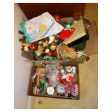 Assorted wreaths, cards new in box, tins, ribbon,