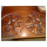 "2 Swirl footed glass plates, 11.5 "" d"