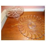 Pedestal and glass serving dishes