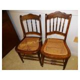 2 cane bottom chairs, one with damage
