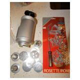 Rosette irons NIP, Mirro aluminum cookie press