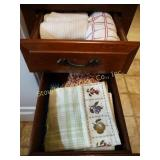 2 drawers of kitchen linens, dish towels, dish