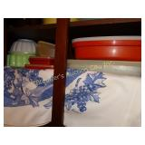 Tupperware bottom and middle shelf, jello mold,