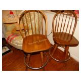 "2 wood bar stools, 25"" t, swivel"