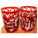 2 ruby etched frosted glasses, deer pattern,