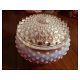 "Hobb nail opalescent  pink lidded dish 4""x2"""