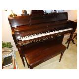 "Wurlitzer piano with bench 24""d x 56""w x 40""t"