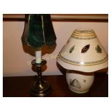 Pfaltzgraff tea light and brass tone lamp with