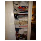 Contents of linen closet, sheets, towels,
