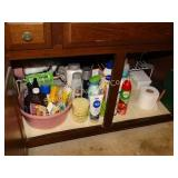 contents of bathroom, cleaning products, shampoo,