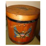 "Wooden handle bucket with Eagle, 9.5"" x 10"""