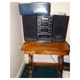 Stereo, transister radio and stand, cd and