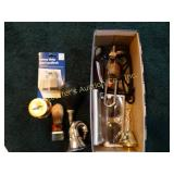 Sunglasses, horn, stamp holder, shaving brush,