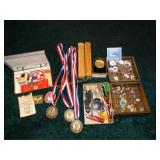 Boy scout pins and patches, army mail pouch,