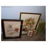 Assorted framed prints, cross-stitch &