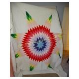 "Handmade quilt lonestar pattern 88""x88"" (has some"