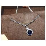 925 Necklace with blue stone 8""