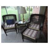 Brown wicker (vinyl) set with 2 chairs,cushions,