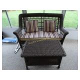 Brown wicker (vinyl) set with loveseat, storage