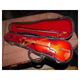 Toy violin in orig case, with bow, wood 9""