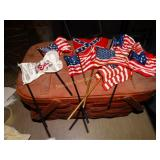 Wood picnic basket & small US flags