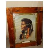"Indian print w/wood frame 21"" x 27"""