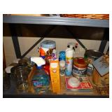 Shelf contents:  cleaners etc.