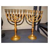 Brass Menorah candle sticks (pair)