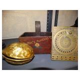 Brass nut cracker, sundial & dovetail wooden