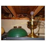 Brass Aladdin elect lamp, cord repaired, enamel