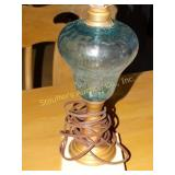 Blue glass lamp w/marble base 2