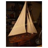 "Wooden replica schooner 31"" x 24"" x 5"" on stand"