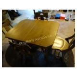 Wooden table w/ 4 chairs has folding inner board
