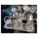Coffee/tea set:  tray, teapot, coffee pot, sugar