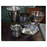 3 Goblets, pewter cup, sugar-needs leg attached