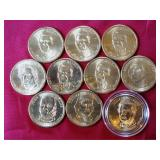 10 Presidential Coins: Reagan (5), Washington,