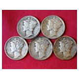 5 Mercury Head Dimes: 1927, 1941, 1943 (2), 1944