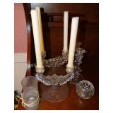 Glass candle sticks and votives