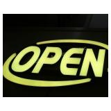"Open light -up Sign  14""x 32"" w/adapter (changes"