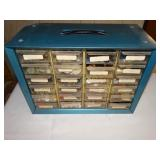 "Metal Caddy w/24 plastic drawers w/buttons 6""d x"
