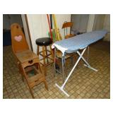 Wood stool, chair, metal rack, ironing board,