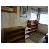 "2 Wood Book Shelves largest is 12""d x 43 1/2""w x"