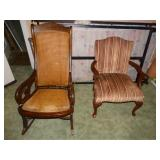 Side Chair & Caned wood rocker