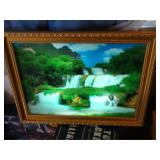 "Motion light up water fall picture w/sound 3""d x"