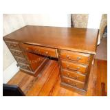 "Bassett Desk w/7 dovetail drawers shows wear 22""d"