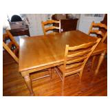 "Wood Dinning Rm. Table w/4 chairs 42""d x 60""L"