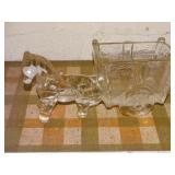 "Vintage glass horse & wagon 9 1/2""L"